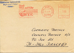 Germany Cocer With Meter Cancel Sent To Denmark Wyk Auf Föhr 21-2-1990 (the Flap On The Backside Of The Cover Is Missing - [7] Federal Republic