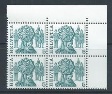 Switzerland 1977 5c Star Singer Marginal Block Of 4 MNH - Unused Stamps