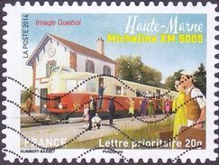 Oblitération Moderne Sur Autoadhésif De France N° 1002 Patrimoines - Train, Micheline XM 5005 Haute-Marne - France