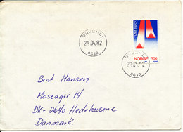 Norway Cover Sent To Denmark Grubhei 28-4-1982 Single Franked - Norway