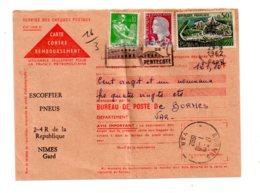 Affranchissement Sur Carte Contre Remboursement- Voir état - Marcophilie (Lettres)
