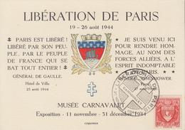 Carte   FRANCE   Libération  De   PARIS   Musée  Carnavalet   1944 - Marcophilie (Lettres)