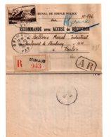 Affranchissement Sur Recommandé Avec AR-Var Voir état - 1921-1960: Période Moderne