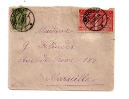 Affranchissement Sur Enveloppe 1914-à Destination De Marseille- Voir état - Marcophilie - EMA (Empreintes Machines)