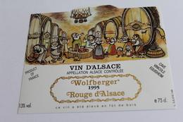Etiquette Neuve Jamais Servie Vin D Alsace Wolberger 1995 Cave Vinicole Eguisheim - Rouges