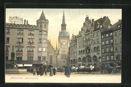 AK München, Marienplatz Mit Pferdewagen - Muenchen