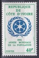 Elfenbeinküste Ivory Coast Cote D'Ivoire 1974 Organisationen UNO ONU Weltbevölkerungsjahr Bevölkerung, Mi. 453 ** - Ivory Coast (1960-...)