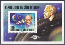 Elfenbeinküste Ivory Coast Cote D'Ivoire 1978 Persönlichkeiten Nobelpreis Nobel Max Planck Raumfahrt Space, Bl. 11 ** - Côte D'Ivoire (1960-...)