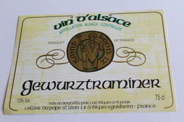 Etiquette Neuve Jamais Servie Vin D Alsace  GEWURZTRAMINER   Cellier Du Pape St Leon  Eguisheim - Gewurztraminer