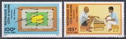 Elfenbeinküste Ivory Coast Cote D'Ivoire 1984 Kultur Culture Freizeit Spiele Brettspiele Eklan-Spiel, Mi. 824-5 ** - Côte D'Ivoire (1960-...)