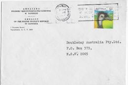 Australia 1987 Poland People's Republic Embassy Commercial Cover Emu Bird Cachet Canberra - Briefe U. Dokumente
