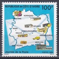 Elfenbeinküste Ivory Coast Cote D'Ivoire 1984 Philatelie Philately Postwesen Postamt Post Office Karten Maps, Mi. 834 ** - Côte D'Ivoire (1960-...)