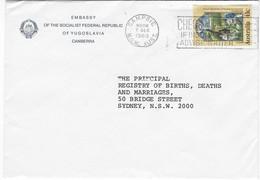 1989 Yugoslavia Socialist Federal Republic Embassy Commercial Cover Christmas Cachet Canberra - Briefe U. Dokumente