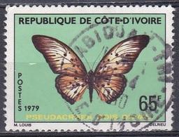 Elfenbeinküste Ivory Coast Cote D'Ivoire 1979 Schmetterlinge Butterflies Papillion Mariposa Farfalle, Mi. 595 Gest. - Côte D'Ivoire (1960-...)