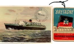 Paquebot Bretagne : Carte Et étiquette Bagages - SGTM Générale De Transports Maritimes - Boats