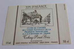 Etiquette Neuve Jamais Servie Vin D Alsace   Cuvee Du Congres De L Union Nationale Immobiliere 1991 Colmar   Eguisheim - Blancs