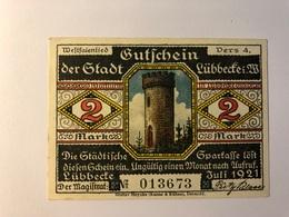 Allemagne Notgeld Lubeck 2 Mark - Collections