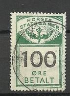 NORWAY Railway Stamp Eisenbahn 100 öre O - Paketmarken