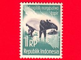 INDONESIA - Nuovo - 1959 - Campagna Di Protezione Degli Animali - Tapiro - Asian Tapir (Tapirus Indicus) - 1 Rp - Indonesia