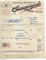 Facture 1935 / 44 NANTES / Conserves Alimentaires SAUPIQUET / Minguzzi IVRY 94 / 93 DRANCY - France