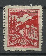 POLEN Poland Charity Wohlfahrt 10 Gr Na Vzdrowiska MNH - 1919-1939 Republik