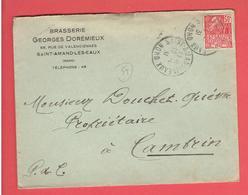 ENVELOPPE 1931 BRASSERIE BIERE GEORGES DOREMIEUX A SAINT AMAND LES EAUX NORD POUR CAMBRIN PAS DE CALAIS - France