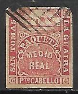 SAINT - THOMAS - LA - GUAIRA   -   1864 .  Y&T N° 7a Oblitéré.   Bateau  /  Paquebot - Postzegels
