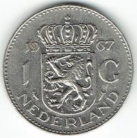 The Netherlands 1967, 1 Gulden, Nickel - [ 3] 1815-… : Koninkrijk Der Nederlanden