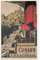 Postcard Advertising 1920's Cunard Liners To USA & Canada Art By Frank Mason  [ Reproduction ] My Ref  B23665 - Advertising