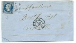 N° 14 BLEU NAPOLEON SUR LETTRE / CHARTRES POUR VERSAILLES / 4 DEC 1856 - 1849-1876: Klassik