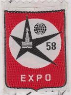 BRUXELLES EXPO 58 BRUSSEL - OUD WAPENSCHID / ANCIEN ECUSSON. Tissu - Textiel - Blazoenen (textiel)