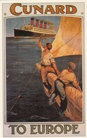 Postcard Advertising Cunard Liner Mauretania Services To Europe [ Reproduction ] My Ref  B23667 - Advertising