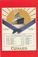 Postcard Advertising Cunard White Star Line Mauretania Sailings From Southampton [ Reproduction ] My Ref  B23670 - Advertising
