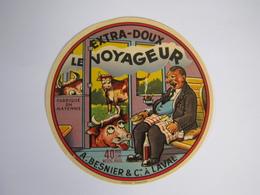 Etiquette De Fromage LE VOYAGEUR EXTRA-DOUX Fabriqué En MAYENNE 40% - Cheese