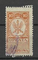 POLEN Poland Ca 1920 Documentary Tax Oplata Stempelmarke 10 Gr. O - Fiscaux