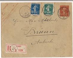 Lettre Paris 1910 Entier Postal 10c Semeuse + Complément Recommandée Destination ( Brüm Autriche ) - Biglietto Postale