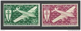 """Martinique Aerien  YT 4 & 5 (PA)"""" Série Londres """" 1945 Neuf** - Airmail"""