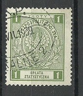 POLEN Poland O 1930 Taxe Revenue Oplata Statistic Tax 1 Zl. O - Fiscaux