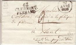 PUY DE DOME - 62 Clermont Ferrand - Lettre à Ravel -PD 36x17- Tm2 N - 1828 - Postmark Collection (Covers)