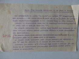 """Guerre 39-45 Message Pour Destruction Signe """"V"""" Gauliste 1941 (Liniers 86) ; PAP02 - Documents Historiques"""