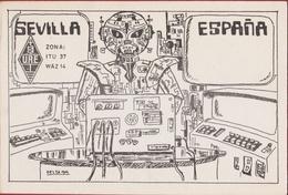 QSL Card Amateur Radio Funkkarte Espana Sevilla Spain 1983 Andenne ROBOT SPACE SHIP Science Fiction UFO - Radio Amatoriale