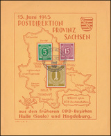 Gedenkblatt Postdirektion Provinz Sachsen 915+921+937 SSt HALLE / SAALE 15.6.46 - Zona AAS