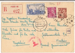 Entier Postal Paris Recommandé Type 80c Iris + Compléments Destination ( Krakou ) Général Gouvernement + Censure - Postal Stamped Stationery