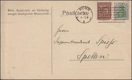 Ziffer-Germania-MiF Postkarte Gesellschaft Theologie BONN 4.1.22  Nach Spellen - Deutschland