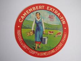 Etiquette De Fromage CAMEMBERT EXTRA-FIN Fabriqué Dans La VIENNE 40% - Cheese