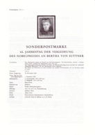 1965  Erläuterungsblatt: 60.Jahrestag - Nobelpreis An Bertha Von Suttner - 1945-.... 2de Republiek