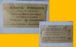 Versailles, Ticket De Bains Froids, école Natation, Chaises, Vers 1900 ?  ; PAP02 - Tickets D'entrée