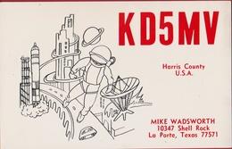 QSL Card Amateur Radio Funkkarte USA Texas 1982 United States Space Astronaut Cosmonaut Shuttle Satellite Disc Planet - Radio Amateur