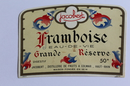 Etiquette Neuve Jamais Servie   JACOBERT  FRAMBOISE EAU DE VIE    Colmar - Etiquettes