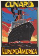 Postcard Advertising Cunard Liner Berengaria Europe - America Artwork By Colin Ashford [ Reproduction ] My Ref  B23671 - Advertising